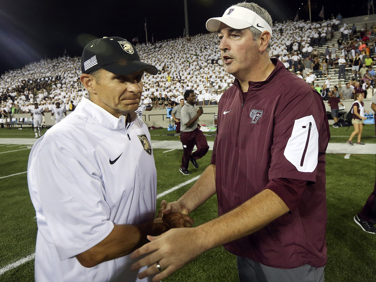 Moorhead (right) had the nation's attention before he led Fordham to a 37–35 upset of Army in the 2015 season-opener.