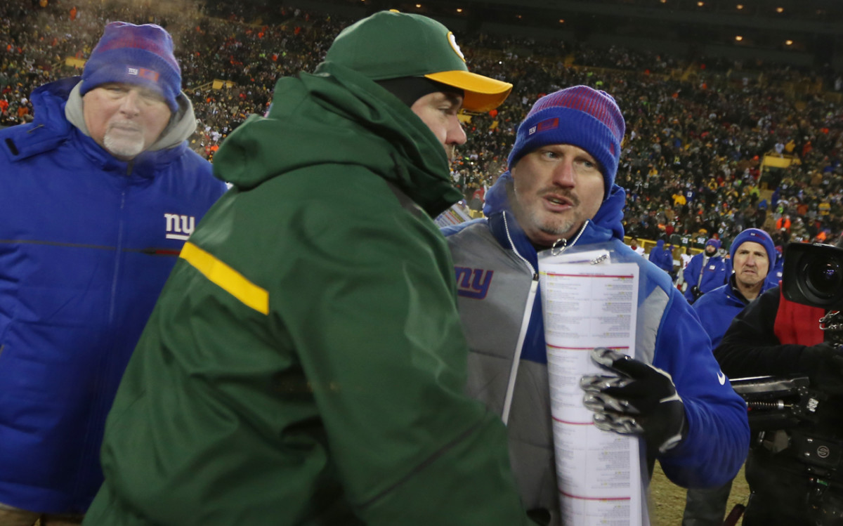 McAdoo with his mentor McCarthy after the Giants-Packers wild-card game last January.