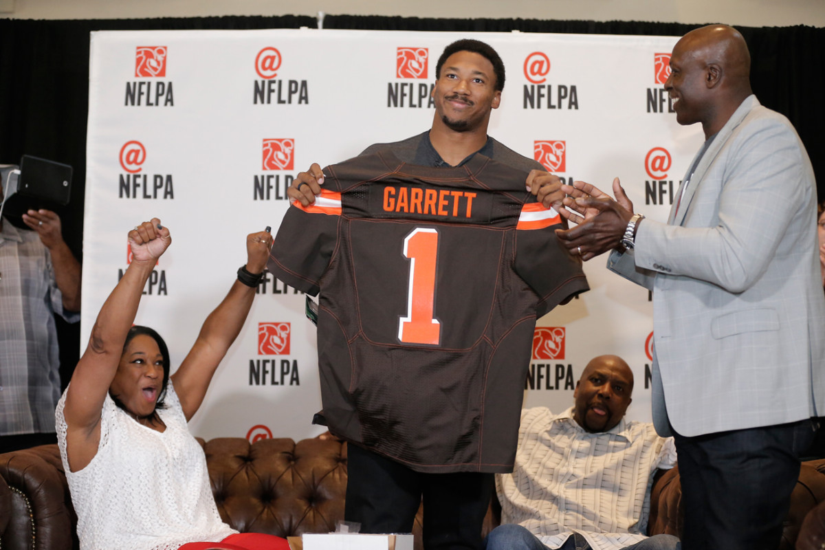 Myles Garrett celebrated his selection as the No. 1 overall pick at an NFLPA party in Arlington, Texas.