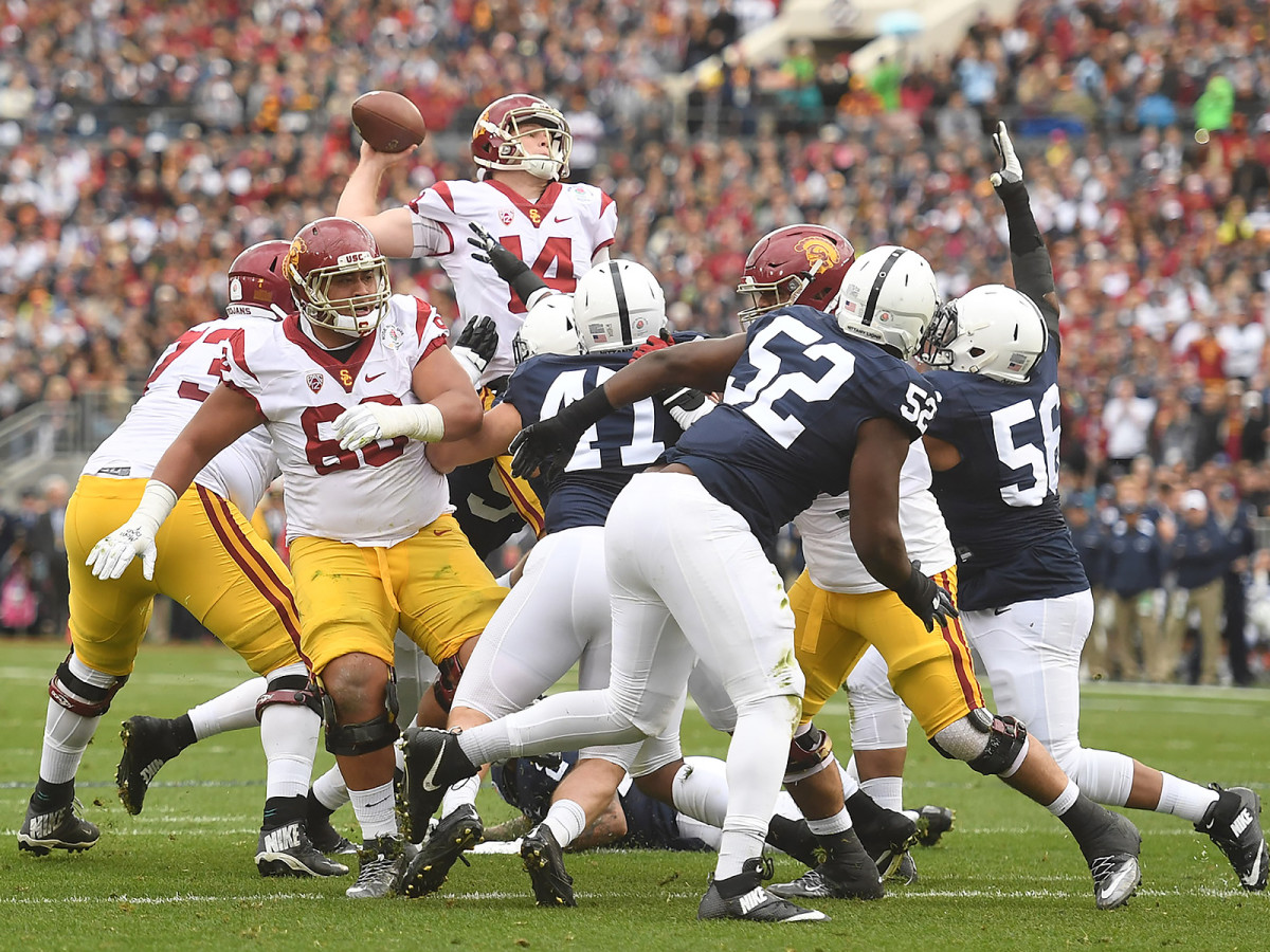 Darnold (14) rose to the challenge just when Penn State appeared primed to take control of the Rose Bowl, finishing with 453 yards and five touchdowns.