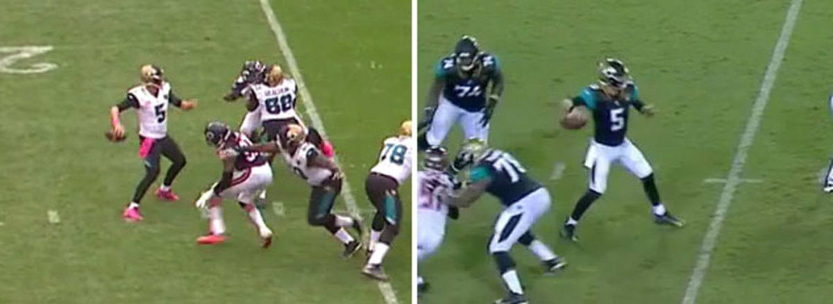 On the left is a throw from Bortles's 2016 season; on the right is from last week's game vs. Tampa Bay.