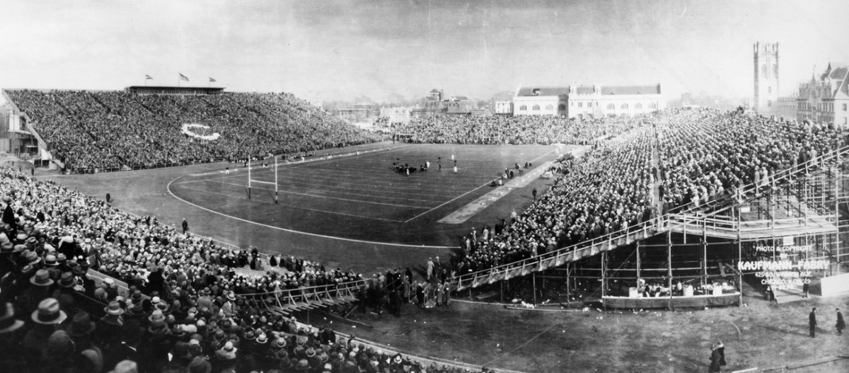 Fans packed the old Stagg Field, once the largest stadium in the Big Ten, for Chicago vs. Michigan, 1927.