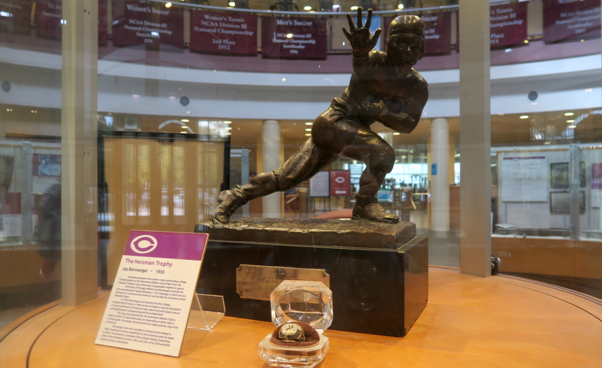 Jay Berwanger's Heisman Trophy has pride of place in the rotunda of Ratner Athletics Center.