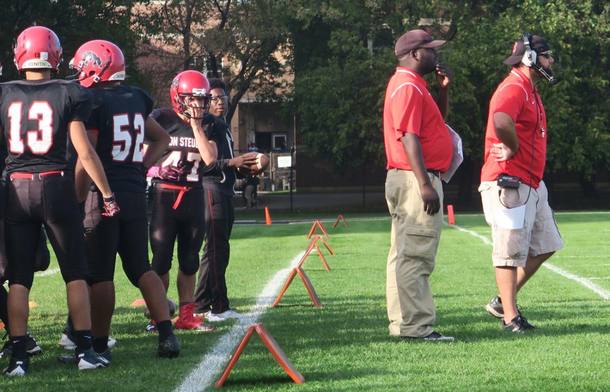 Von Steuben coach Alan Rood (right) working the sideline.