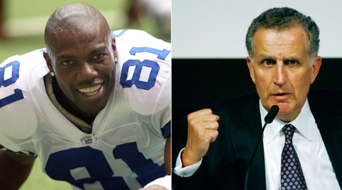 Former NFL wideout Terrell Owens and former commissioner Paul Tagliabue.