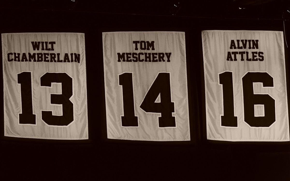 Meschery's number hangs from the rafters among lofty company at Oracle Arena.