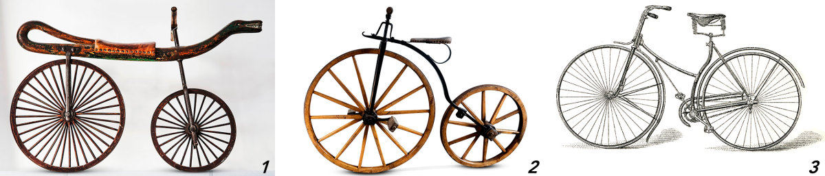 1) Push-bike Draisine, 1825 2) Penny-fathing, ca. 1870s 3) Safety bike 1885