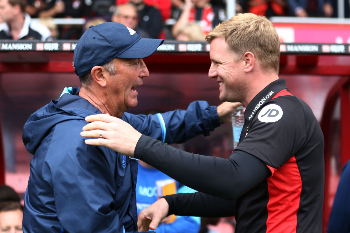 BOURNEMOUTH, ENGLAND - SEPTEMBER 10: Tony Pulis, Manager of West Bromwich Albion (L) and Eddie Howe, Manager of AFC Bournemouth (R) embrace during the Premier League match between AFC Bournemouth and West Bromwich Albion at Vitality Stadium on September 10, 2016 in Bournemouth, England.  (Photo by Warren Little/Getty Images)