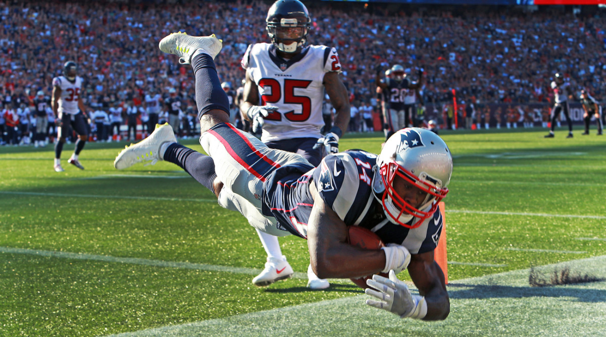 Through three games as a Patriot, Brandin Cooks has 10 catches for 256 yards and two touchdowns, including this toe-tapping game-winner Sunday against the Texans.