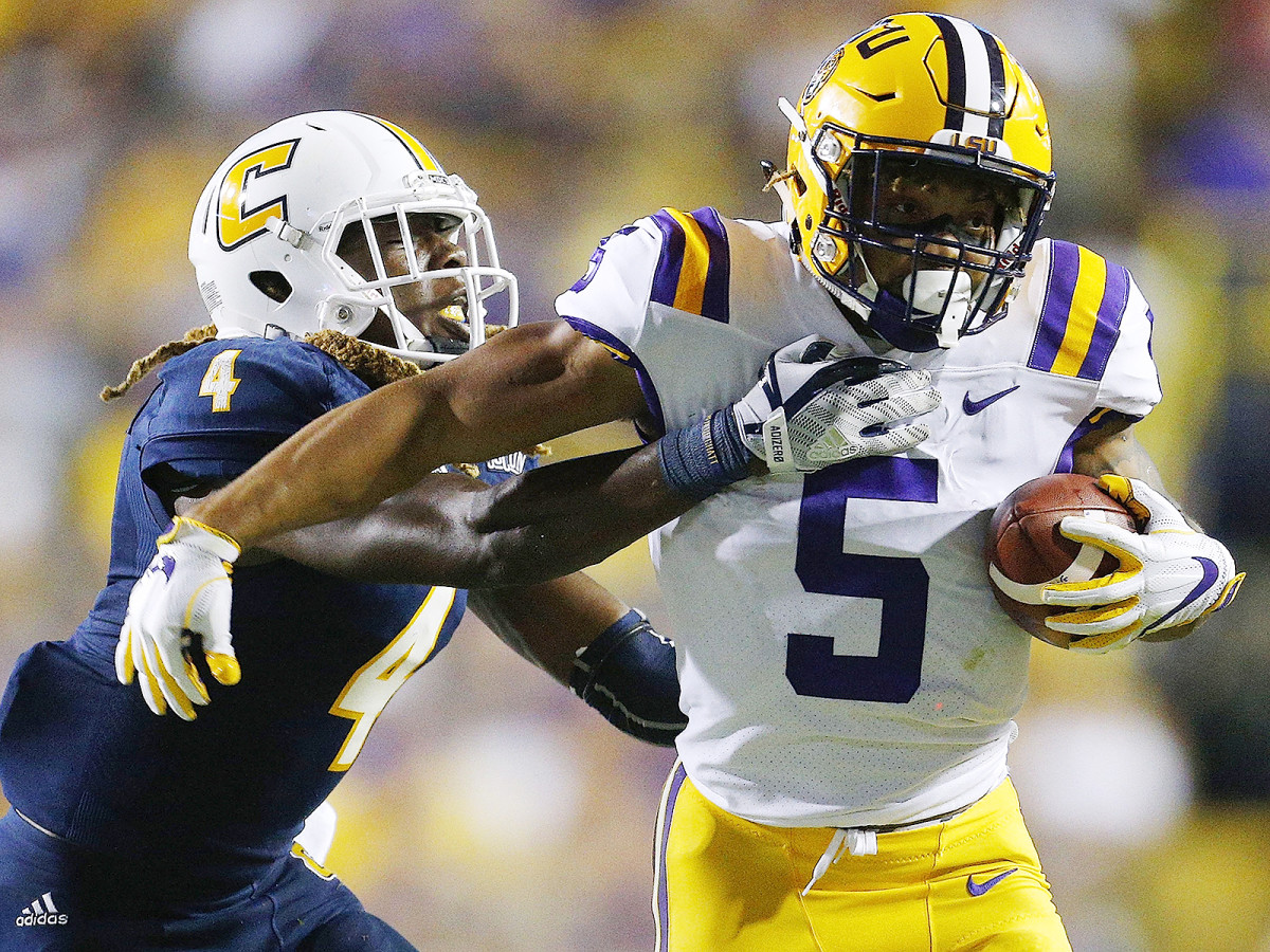Guice has 224 yards and four touchdowns on 42 carries so far in 2017—and he has yet to play into the fourth quarter.
