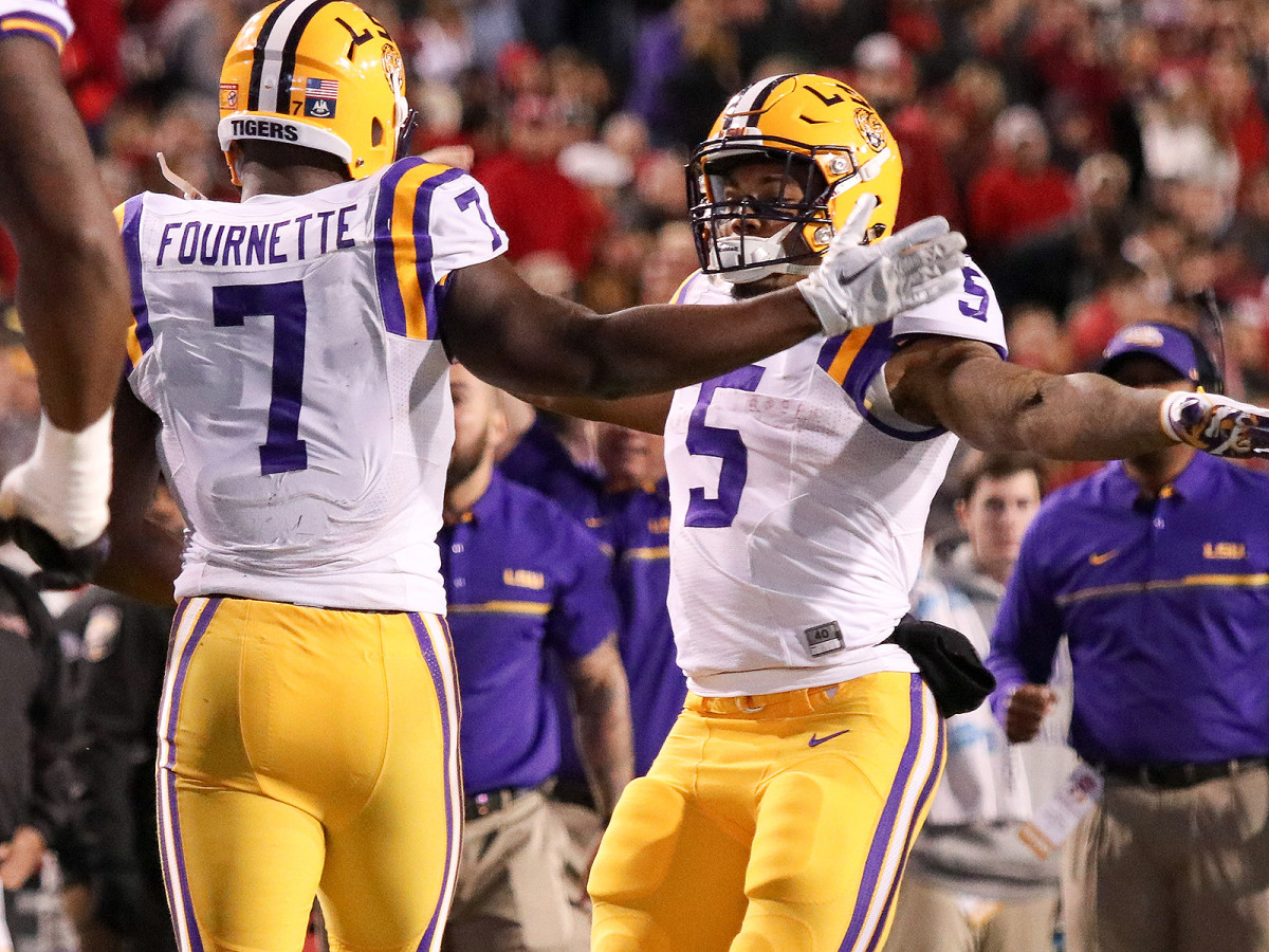 Guice runs with a different fire than his former teammate Leonard Fournette, the No. 4 pick in the 2017 draft by the Jaguars.