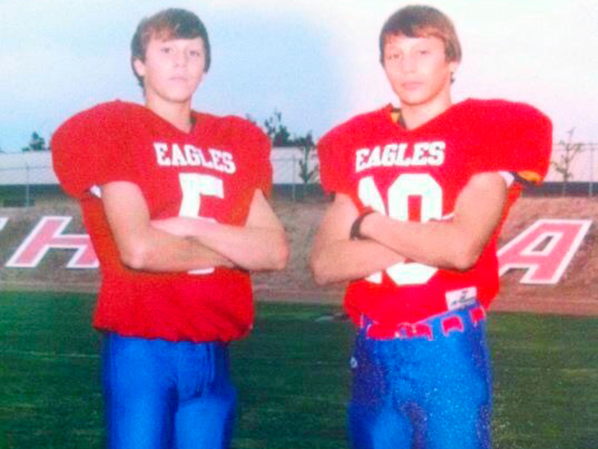 Josh Allen (5) as a high school sophomore with younger brother Jason.