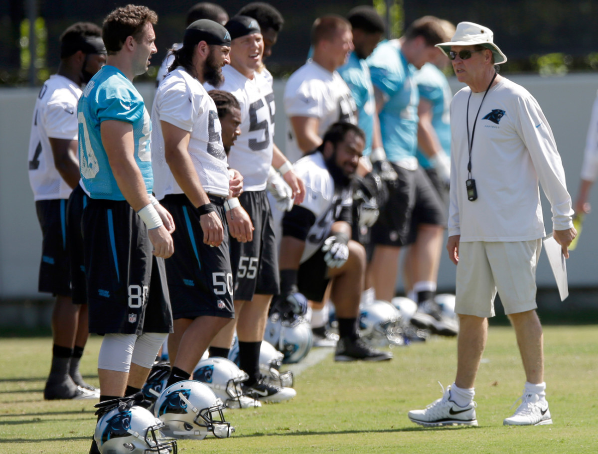 Bruce DeHaven with the Panthers last August, before he stepped down.