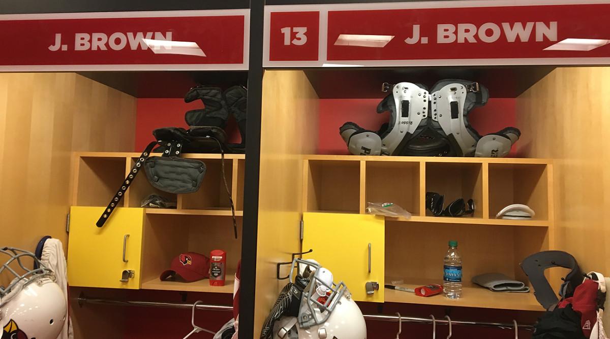 John Brown and Jaron Brown share neighboring lockers at the Cardinals facility.