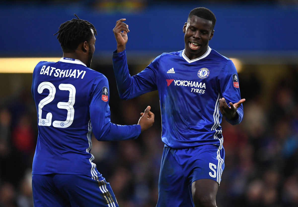 LONDON, ENGLAND - JANUARY 28:  Michy Batshuayi of Chelsea celebrates with Kurt Zouma of Chelsea after scoring his sides fourth goal during the Emirates FA Cup Fourth Round match between Chelsea and Brentford at Stamford Bridge on January 28, 2017 in London, England.  (Photo by Shaun Botterill/Getty Images)