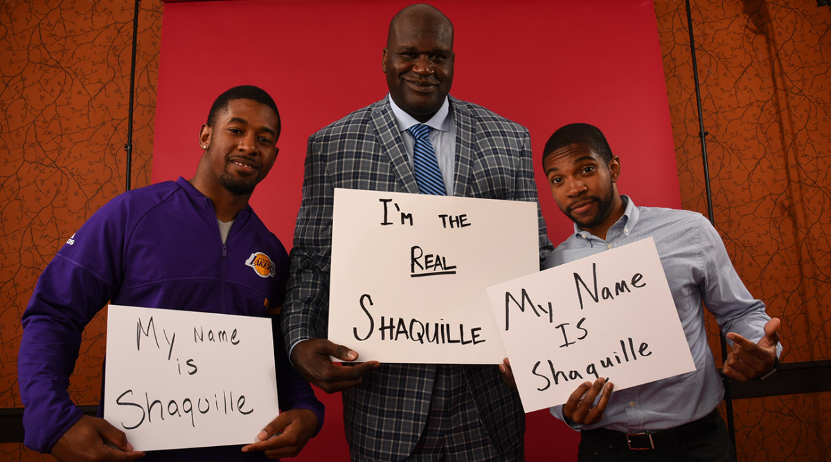 Shaquilles Alexander, O'Neal and Brewster met up before Game 4 of the NBA Finals in Cleveland.