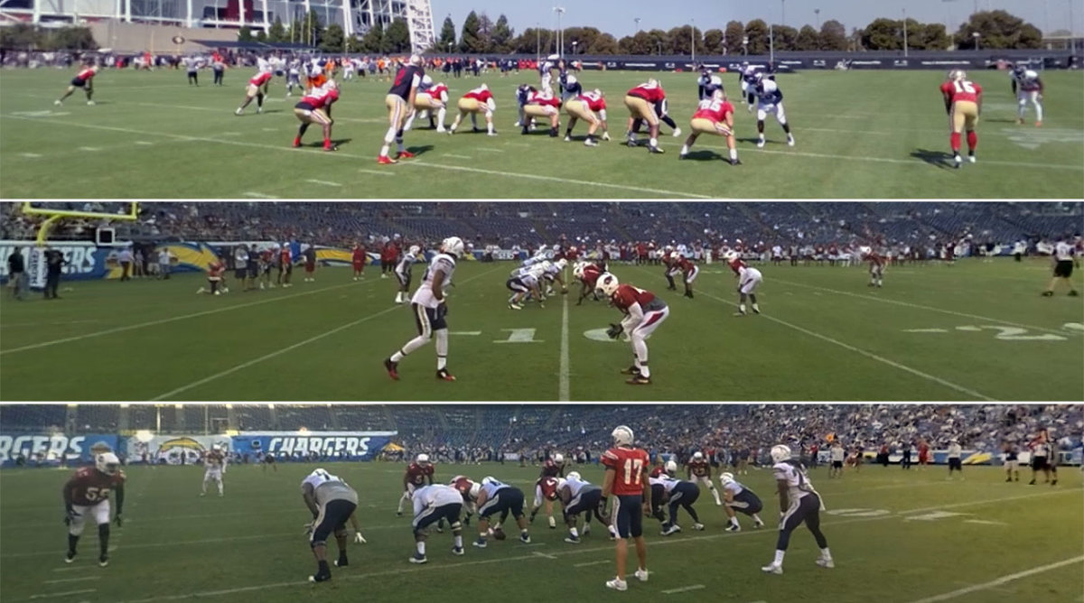 STRIVR captures video from these three positions on the field, mimicking where NFL officials stand.