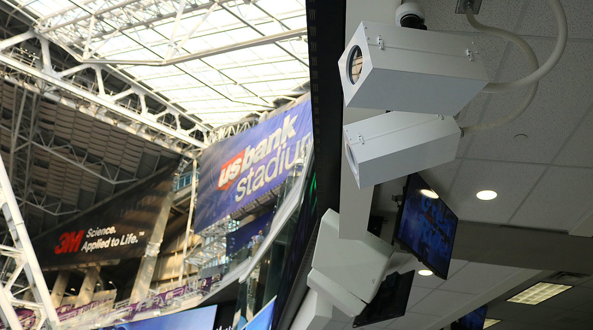 Cameras, like these mounted at U.S. Bank Stadium, capture the action on the field for freeD.