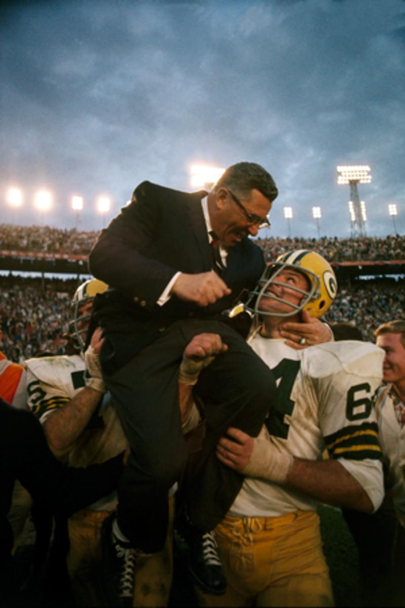 Kramer carriers Vince Lombardi on his shoulders after winning Super Bowl II.