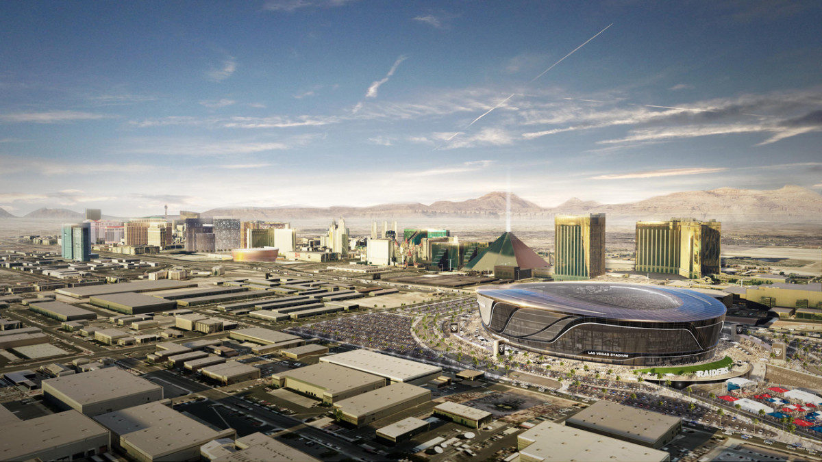This rendering shows the proposed new Raiders stadium located just south of the Las Vegas strip.