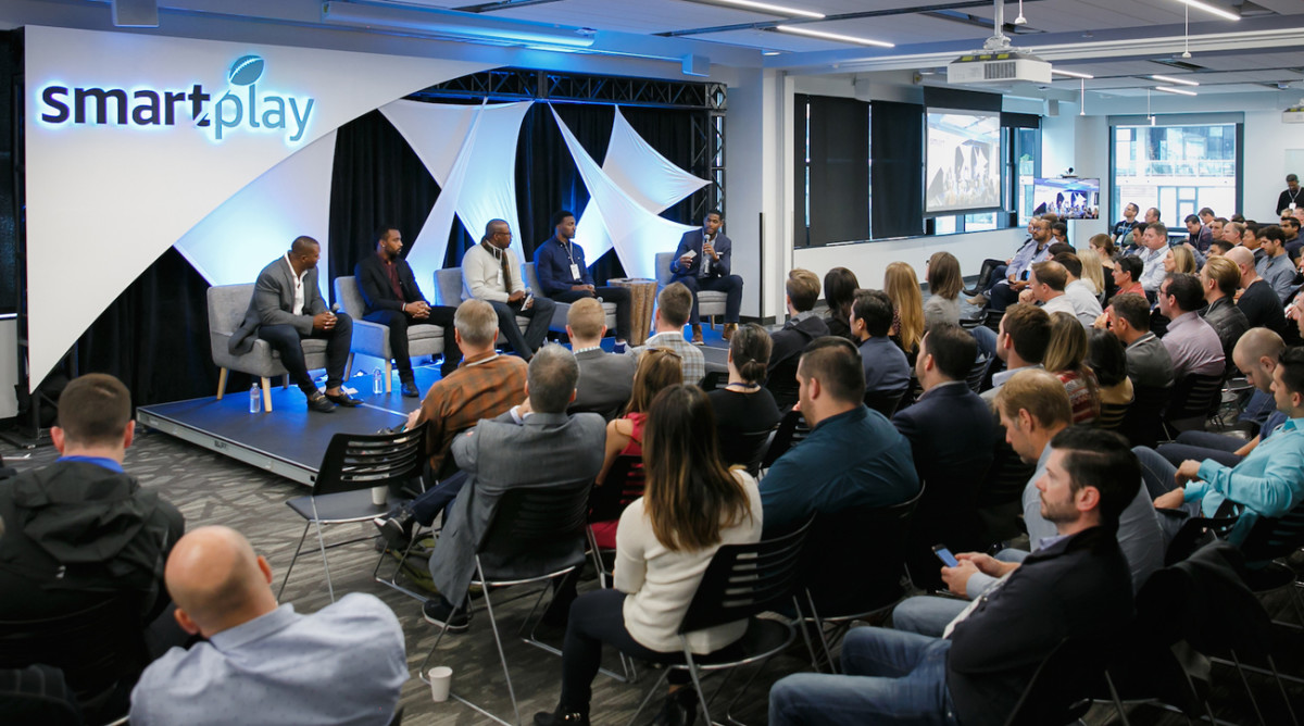 Eddie George, Doug Baldwin, Ryan McNeil, Ryan Mundy and Marques Colston at the Amazon Launchpad event in October.