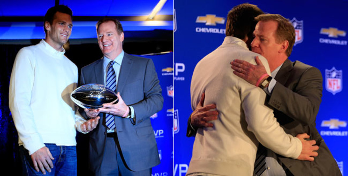 "Recently, Roger Goodell has said ""it would be an honor"" to present Tom Brady the Lombardi Trophy, while Brady's father has said, because of Deflategate, ""Somebody that has Roger Goodell's ethics doesn't belong on any stage that Tom Brady is on."" In February 2015, the NFL commissioner embraced Brady, who was named MVP of Super Bowl 49 just weeks after the initial allegations."
