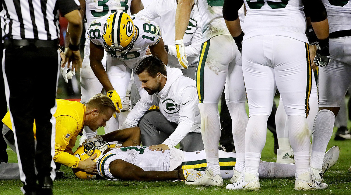 Davante Adams was carted off the field after absorbing a vicious hit from Danny Trevathan, but he returned to the field the following week.