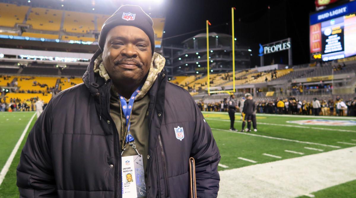 Edmund Nelson, former Steeler, now checks player uniforms for the NFL.