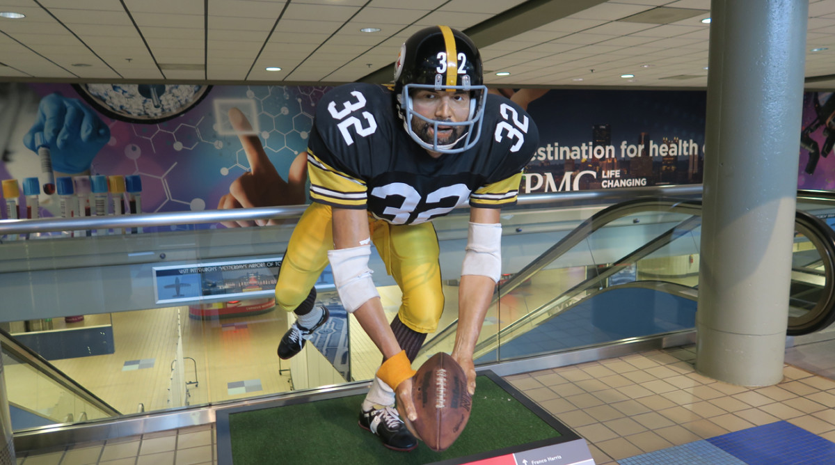 Arrivals at the Pittsburgh airport are greeted with statue of the most important single moment in the city's history, seemingly.