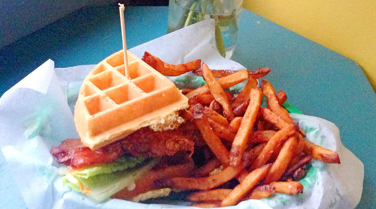 The World Famous serves this chicken and waffle club sandwich until 2 a.m. six nights a week.