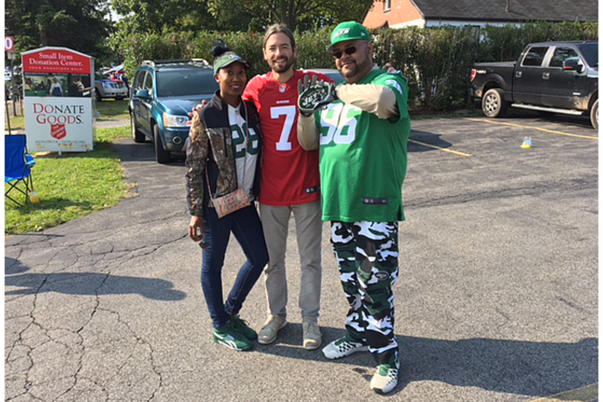 Rohan with Jets fans outside Ralph Wilson Stadium.