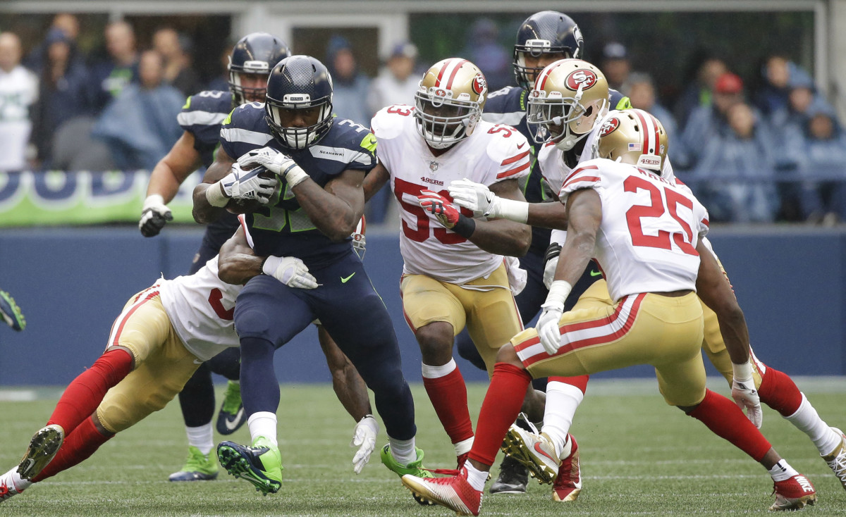 Seahawks running back Chris Carson had 100 scrimmage yards in Sunday's win.