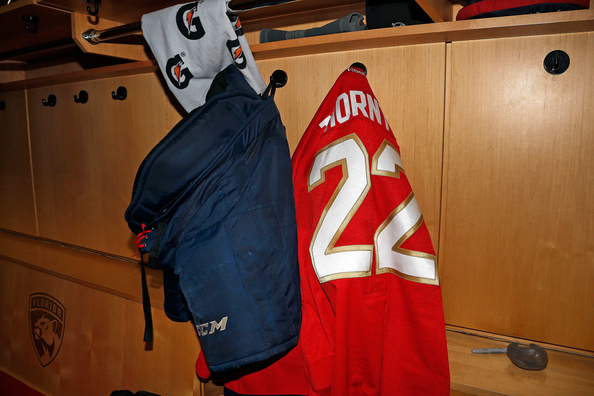 Shawn Thornton #22 of the Florida Panthers hung his jersey in his locker after his final NHL game.