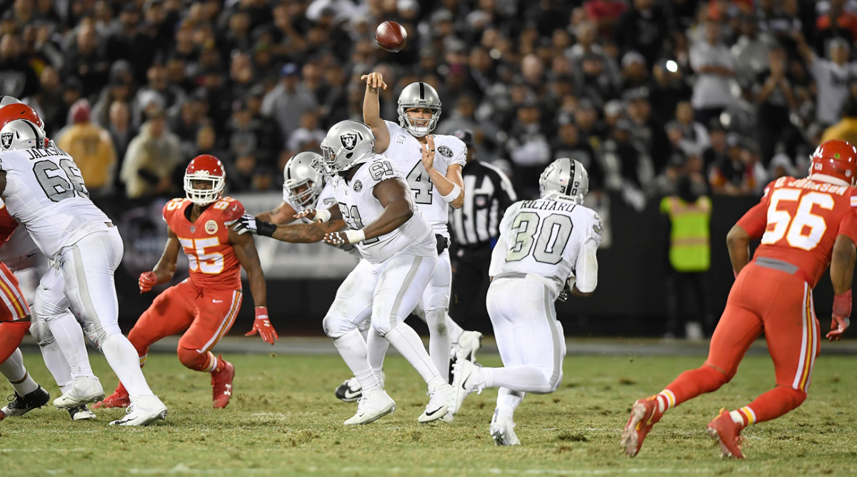 Derek Carr's season numbers through six games: 223.5 yards per game, 11 touchdowns, four interceptions, 95.9 rating, 64.9 completion percentage.