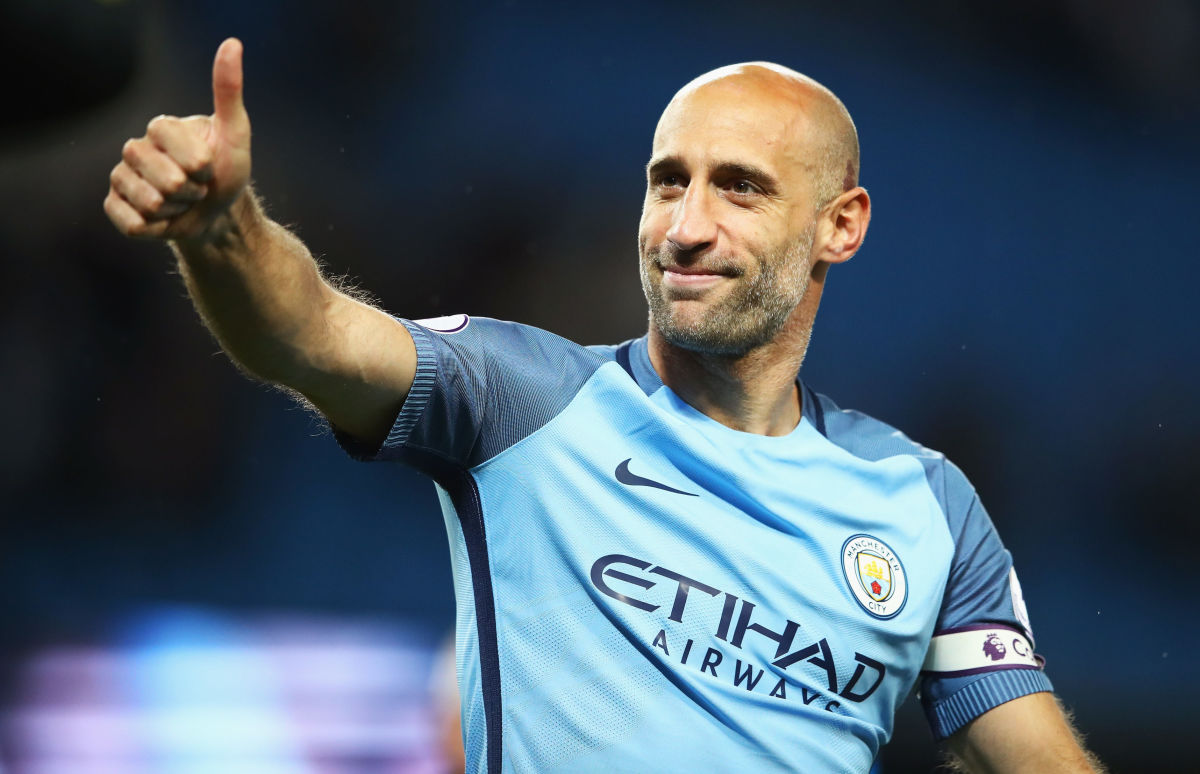 MANCHESTER, ENGLAND - MAY 16:  Pablo Zabaleta of Manchester City shows appreciation to the fans after the Premier League match between Manchester City and West Bromwich Albion at Etihad Stadium on May 16, 2017 in Manchester, England.  (Photo by Clive Mason/Getty Images)