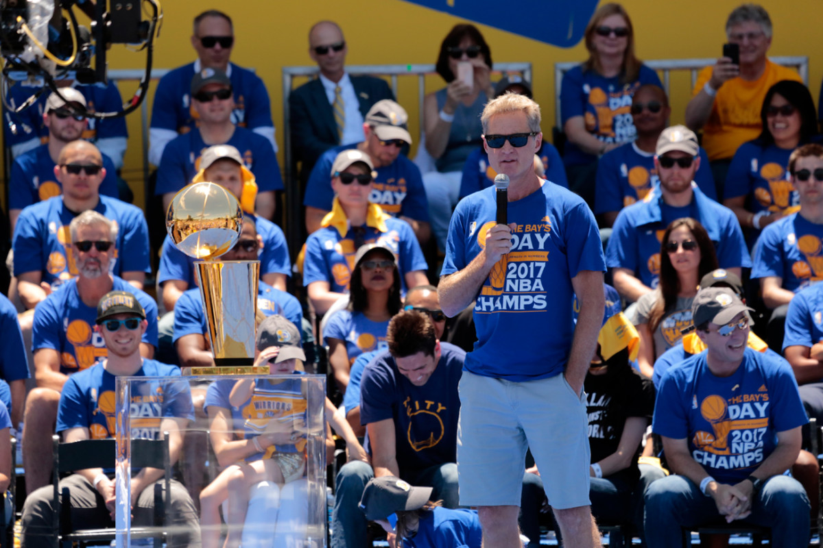 Warriors coach Steve Kerr has helped lead the team to three straight NBA Finals appearances and two championships.