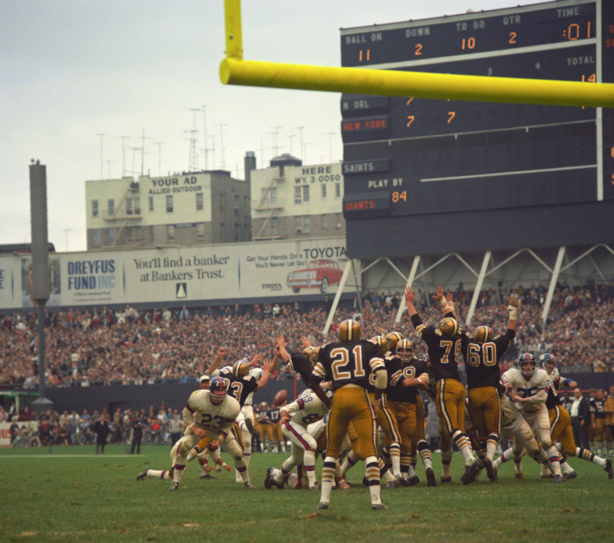 Calm before the storm: Saints-Giants at Yankee Stadium, October 1967.