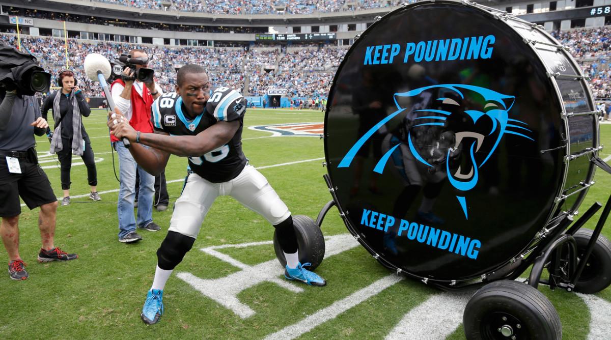 Thomas Davis pounds the Panthers' drum.