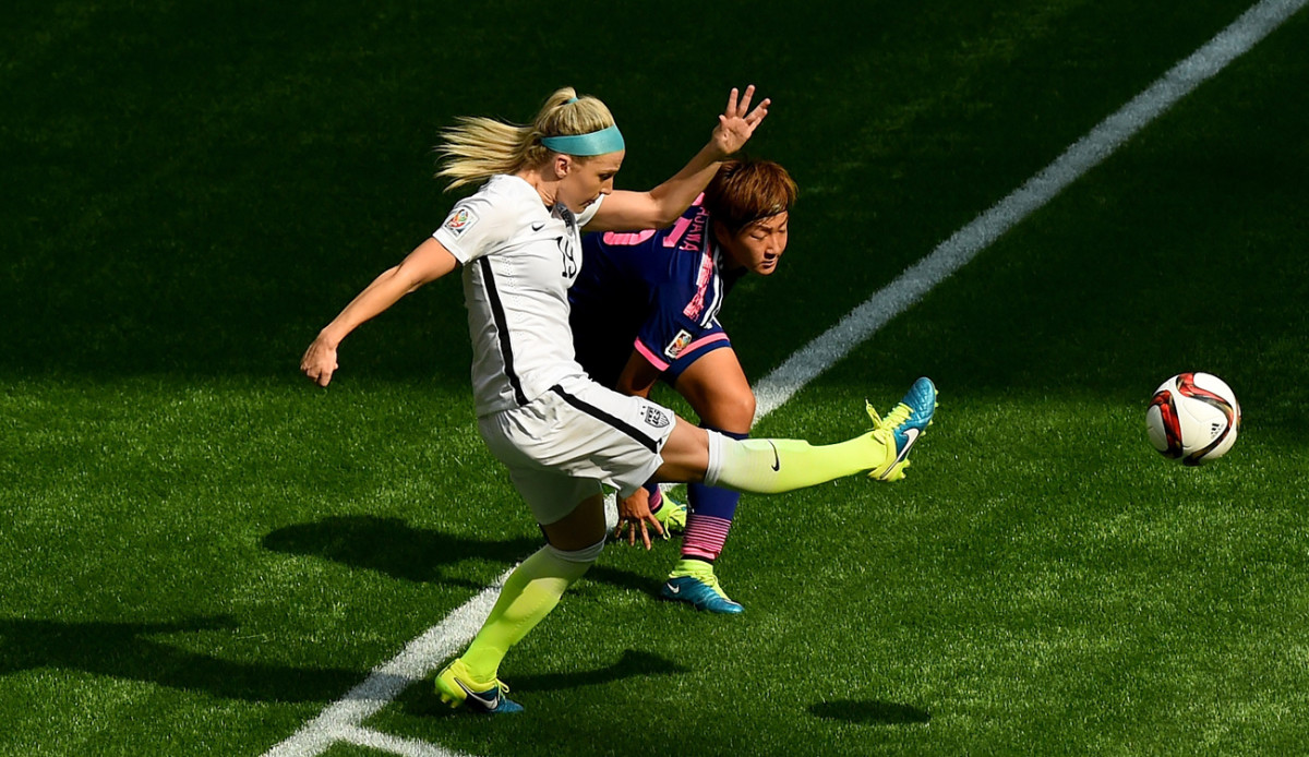 Julie in action against Japan in the World Cup final in 2015.