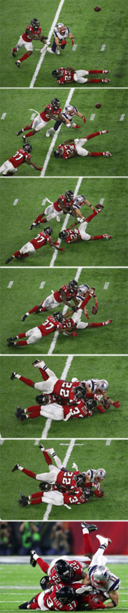 Julian Edelman's acrobatic catch just inches off the ground in the fourth quarter.