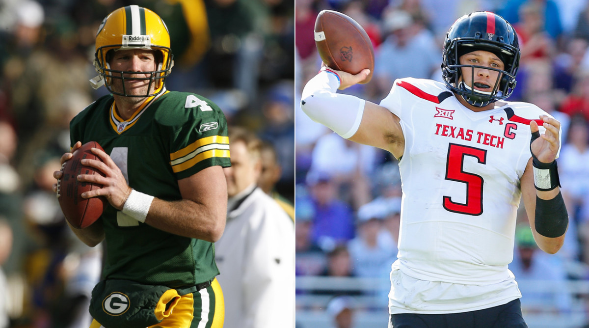 Pat Mahomes is drawing comparisons to Brett Favre; both are 6-foot-2, possess cannons for arms and are prone to improvising on the field.