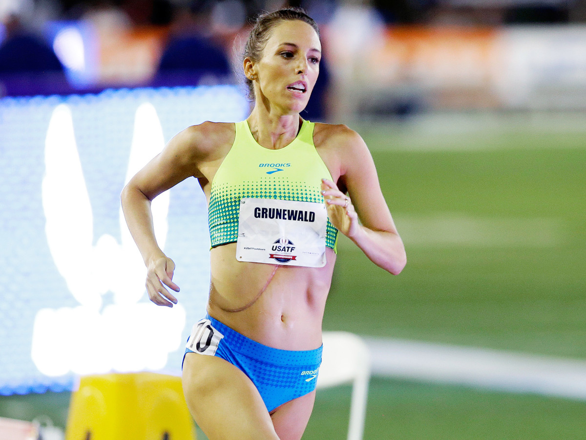Grunewald's last-place finish in the 1,500 national championship in June can less than a week after she spent four hours in the ER with a fever.