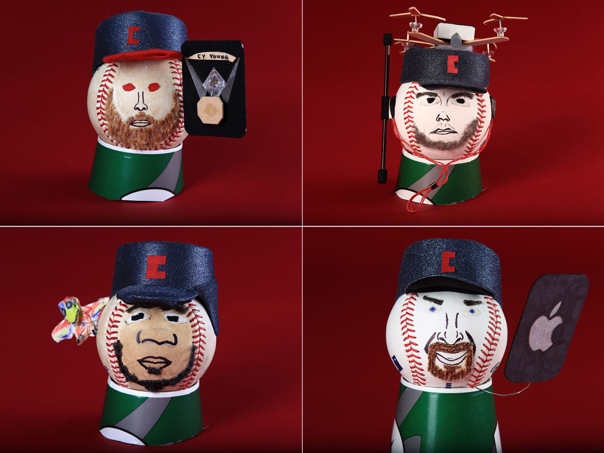 Corey Kluber, Trevor Bauer, Edwin Encarnacion and Bryan Shaw (clockwise from top left)