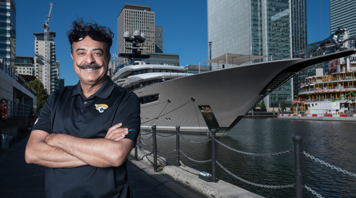 Shad Khan in front of his yacht, Kismet, in London.