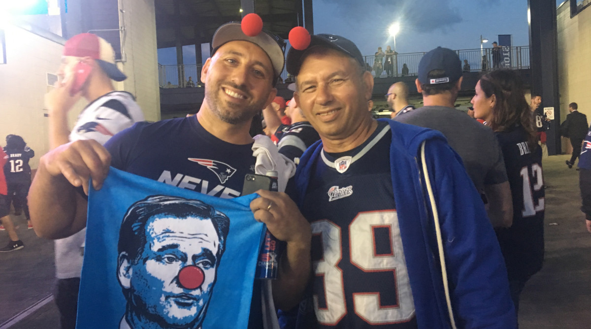 Kyle and John Benchsky walked twenty minutes out of the way to get a Clown Face towel.