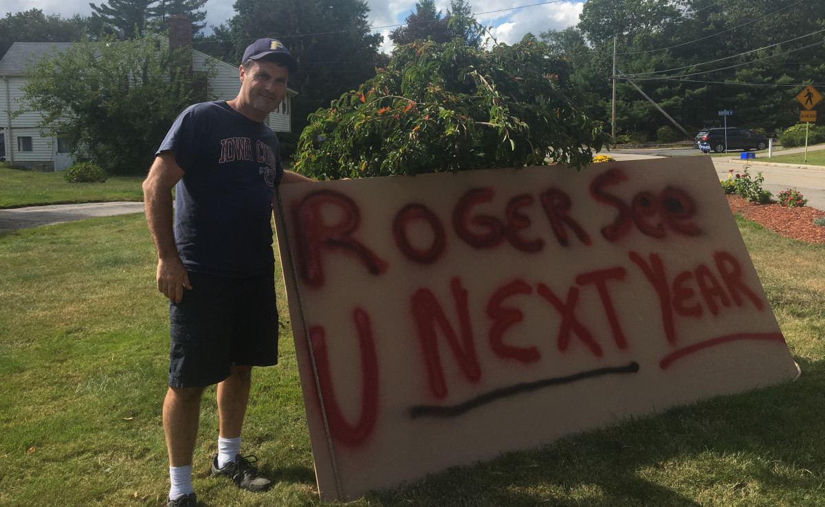 Patriots fan Chris Corkery's special message for Goodell.