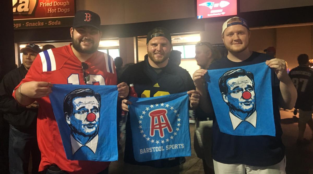 Joe Steele, Jack Henningson and Dillon Matthews show off their Clown Face towels.