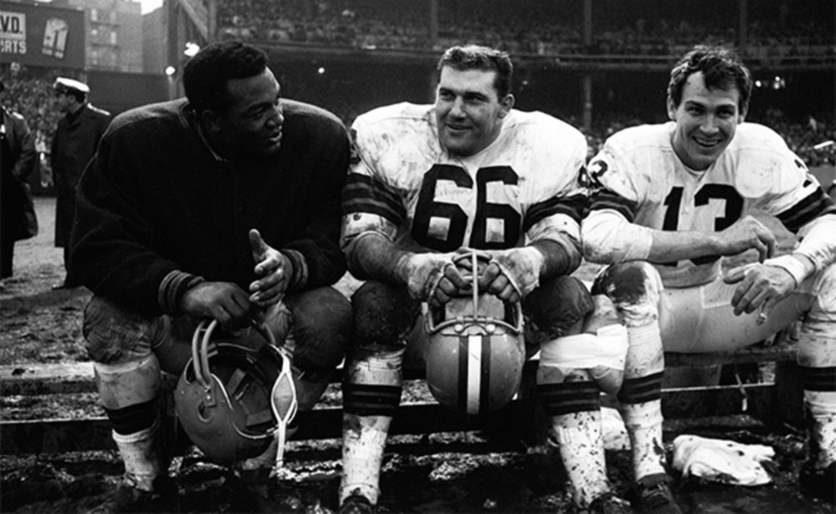 Jim Brown, Gene Hickerson and Frank Ryan on the sidelines during a 1964 game at Yankee Stadium.