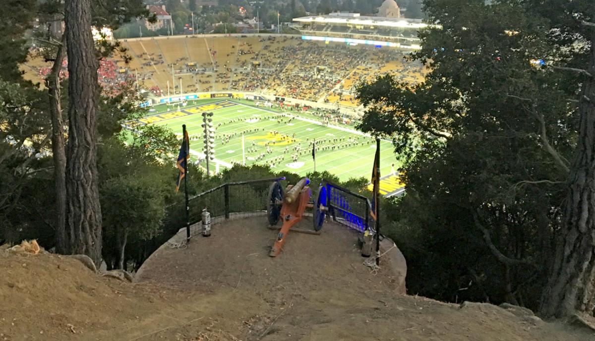 The cannon atop Tightwad Hill, overlooking the Golden Bears' stadium.