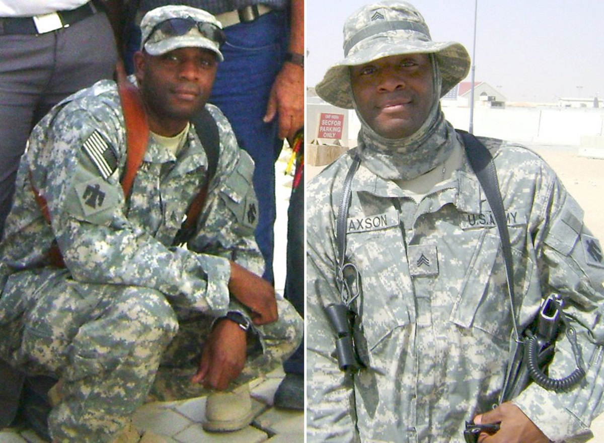 The writer in 2008 at Camp Bucca in Iraq as part of Operation Iraqi Freedom.